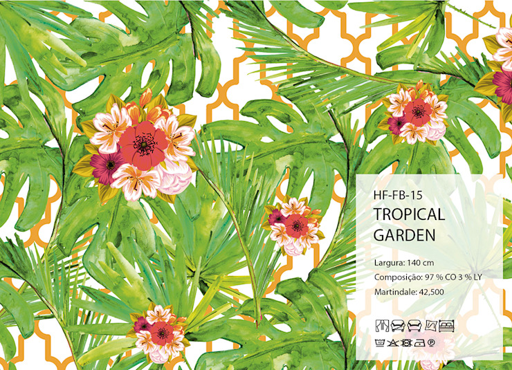 HF-FB-15-TROPICAL-GARDEN por House Frame Wallpaper & Fabrics Clássico