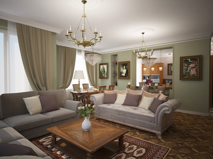 Eclectic style living room by Designer Olga Aysina Eclectic