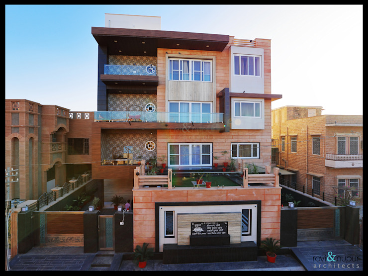 Completed Project at a glance #Residence @Paota,Jodhpur. RAVI - NUPUR ARCHITECTS Modern houses Stone Beige