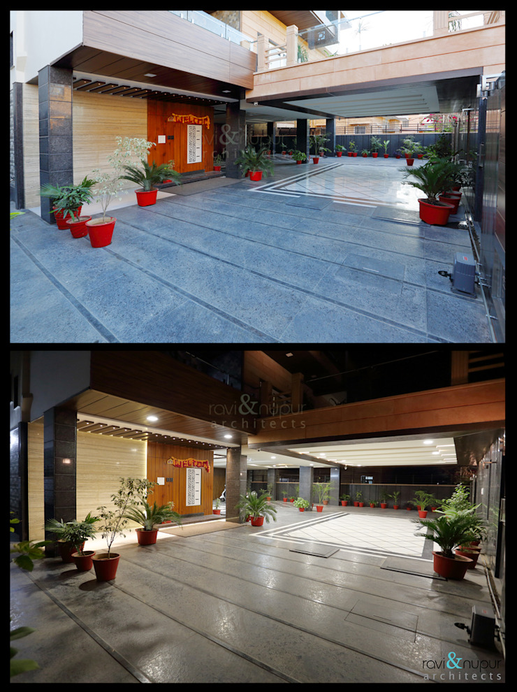 Entrance to the Grand Residence Modern balcony, veranda & terrace by RAVI - NUPUR ARCHITECTS Modern Granite