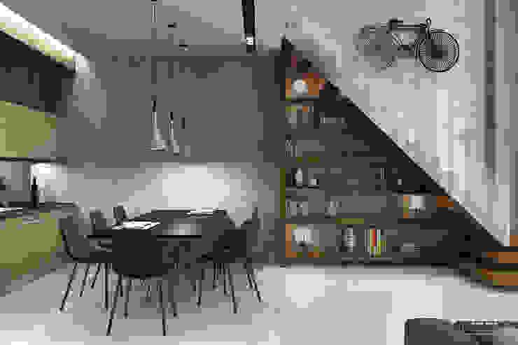 Лестница-стеллаж Коридор, прихожая и лестница в стиле лофт от Studio 25 Лофт