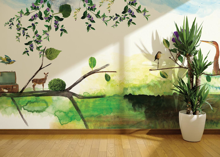 HF004-Suitcase-in-the-branches por House Frame Wallpaper & Fabrics