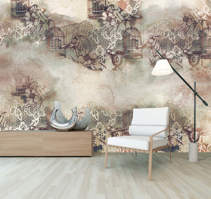 HF060-Birds and Cages por House Frame Wallpaper & Fabrics