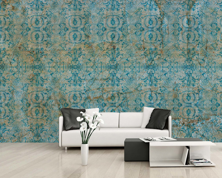 HF075-Blue Pattern por House Frame Wallpaper & Fabrics