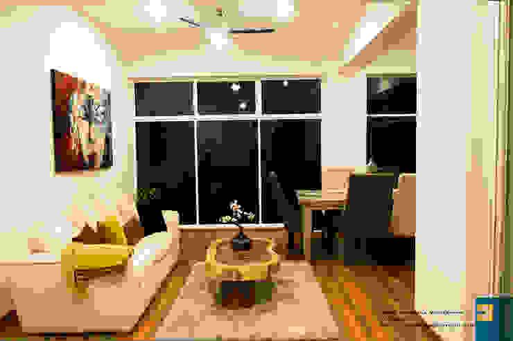 la sala Salones modernos de Excelencia en Diseño Moderno Derivados de madera Transparente