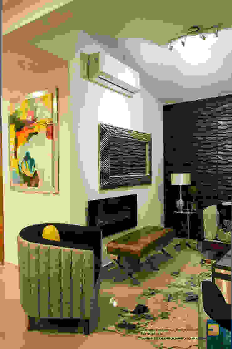 la sala Salones modernos de Excelencia en Diseño Moderno Compuestos de madera y plástico
