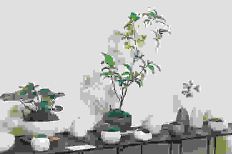 地器と金魚葉椿白侘助: 陶刻家 由上恒美                                          Ceramic Sculptor  tsunemi yukami  が手掛けた現代のです。,モダン 陶器