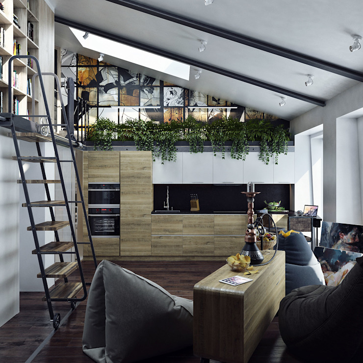 Хороший план Livings de estilo industrial