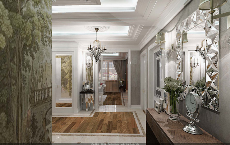 Classic corridor, hallway & stairs by Студия дизайна Натали Хованской Classic Engineered Wood Transparent