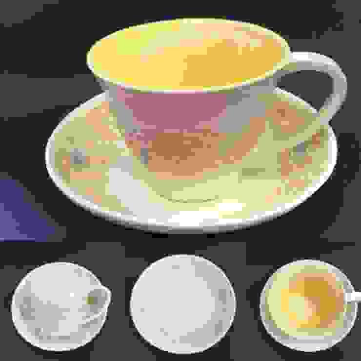 新作レースの器 パステルカラーカップ: 陶芸工房ラ・プエルタ が手掛けた現代のです。,モダン 磁器