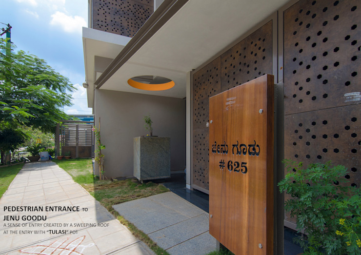 PEDESTRIAN ENTRANCE Asian style balcony, veranda & terrace by 4site architects Asian Solid Wood Multicolored