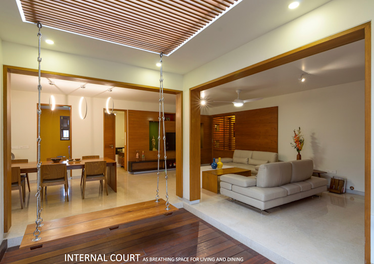 Living and Dining Asian style living room by 4site architects Asian Solid Wood Multicolored