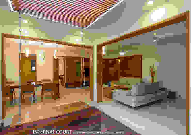 Salas de estar asiáticas por 4site architects Asiático Madeira maciça Multi colorido