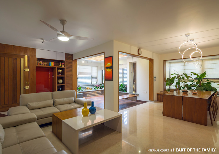 Living and Dining Asian style living room by 4site architects Asian Marble