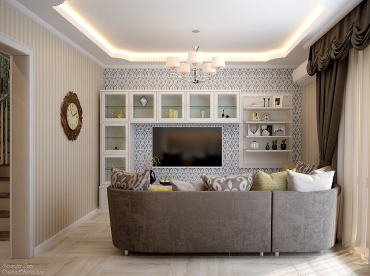 Ruang Keluarga Gaya Eklektik Oleh Студия интерьерного дизайна happy.design Eklektik