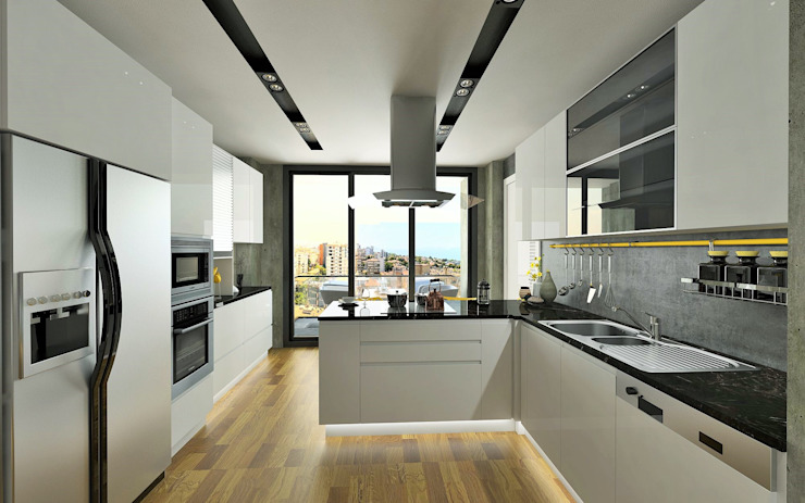 Murat Aksel Architecture Modern kitchen Wood White