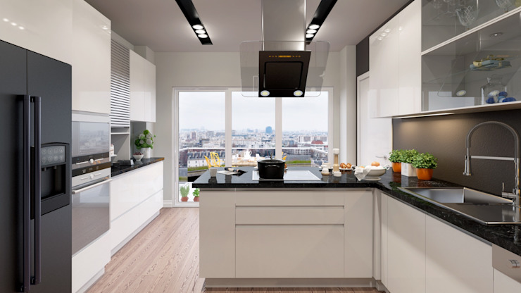 Suadiye rezidans Modern Mutfak Murat Aksel Architecture Modern Ahşap Ahşap rengi