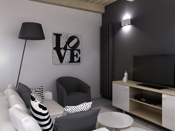 Architetto Luigia Pace Modern living room Wood Grey