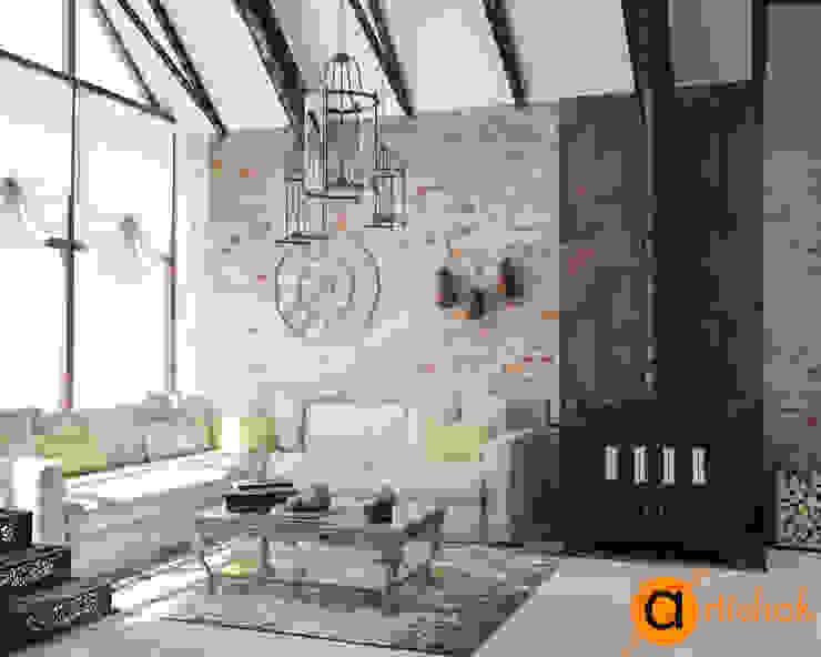 Salas de estilo industrial de Artichok Design Industrial Ladrillos