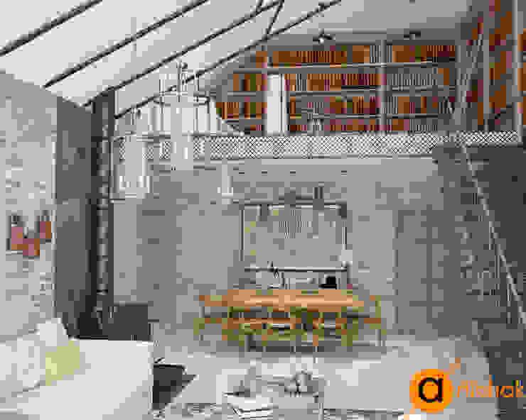 Атмосфера комфорта с изюминкой: кованые изделия Гостиная в стиле лофт от Artichok Design Лофт Кирпичи