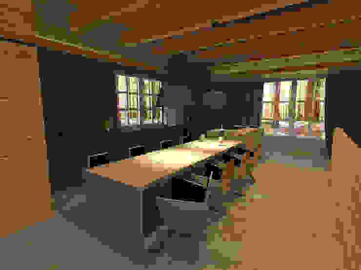 Przestrzeń z wykorzystaniem foteli SIT Nowoczesna kuchnia od Delicious Concept Nowoczesny