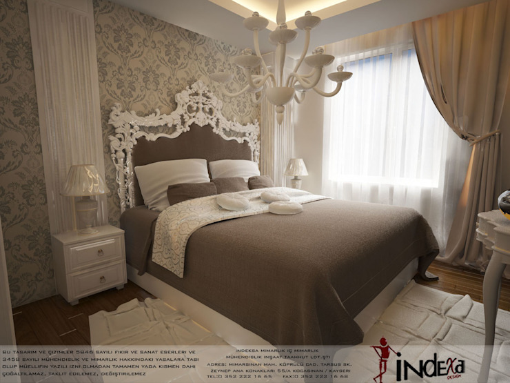 Classic style bedroom by İNDEKSA Mimarlık İç Mimarlık İnşaat Taahüt Ltd.Şti. Classic Wood Wood effect