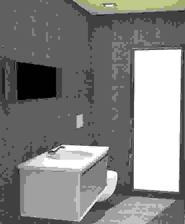 Baño de servicio revestido de gresite Baños de estilo moderno de NUÑO ARQUITECTURA Moderno Cerámico