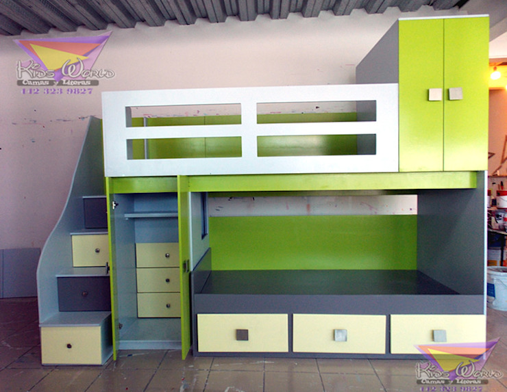 Preciosa litera juvenil de camas y literas infantiles kids world Moderno Compuestos de madera y plástico