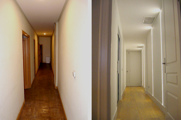 Pasillo de distribución antes y después Pasillos, vestíbulos y escaleras de estilo moderno de CPETC Moderno