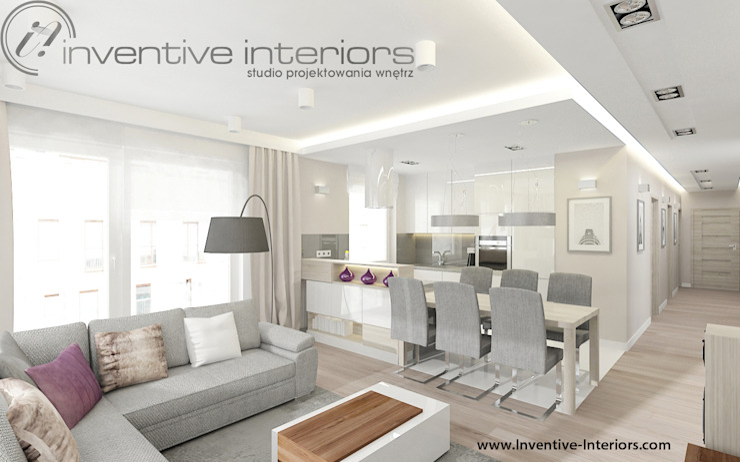 Inventive Interiors jasna jadalnia w przestronnym salonie Nowoczesna jadalnia od Inventive Interiors Nowoczesny