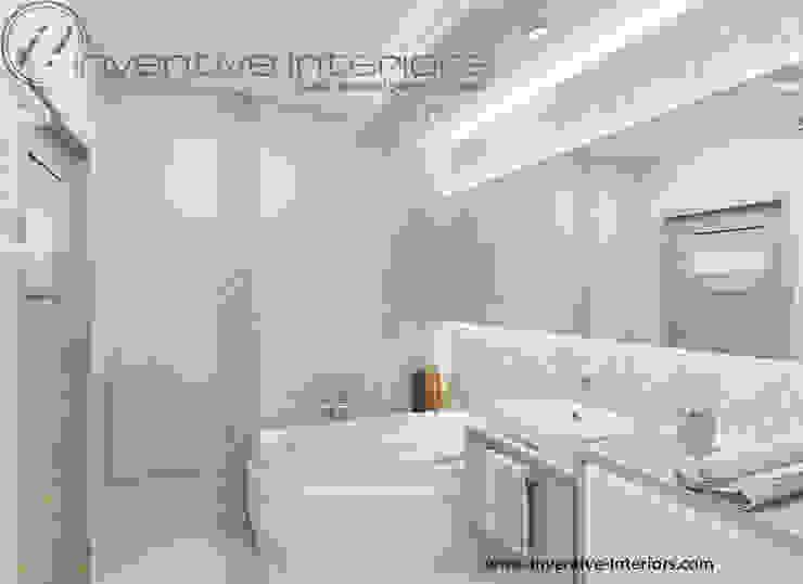 Inventive Interiors przestronna łazienka w beżu Nowoczesna łazienka od Inventive Interiors Nowoczesny Kamień