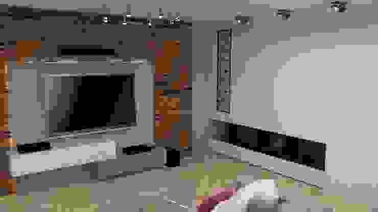 Modern living room by archJudyta Aranżacja Wnętrz Modern Wood Wood effect