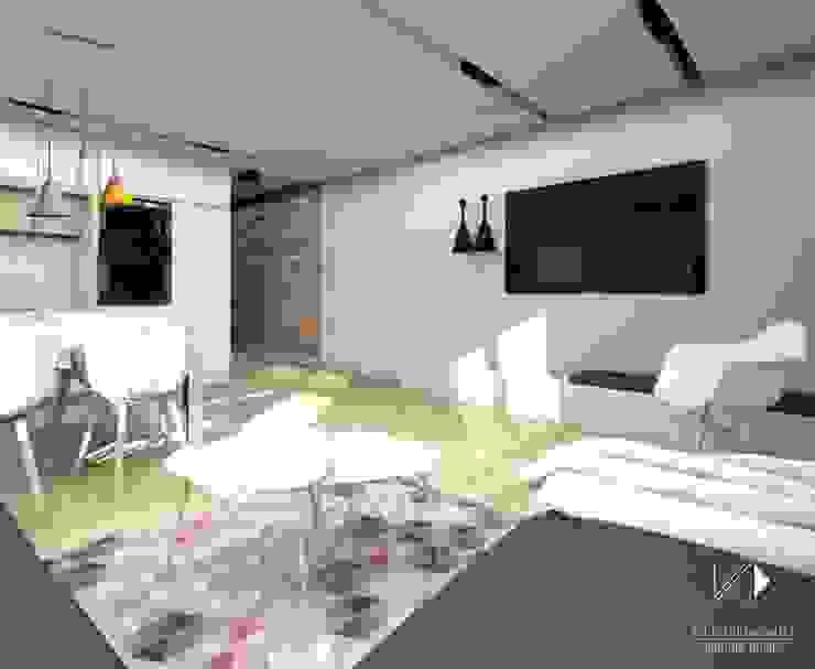 Otwarty salon z kuchnią Nowoczesny salon od Architekt wnętrz Klaudia Pniak Nowoczesny