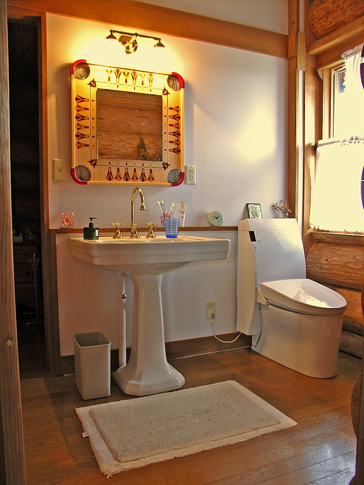 Log Cabin beside Japan Alps Cottage Style / コテージスタイル Country style bathroom Wood Wood effect