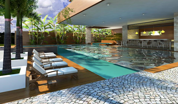 Modern terrace by Esquiliano Arqs Modern