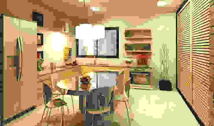 """Cocina Penthouse """"Blue Cedar"""": Cocinas de estilo  por Esquiliano Arqs, Moderno"""
