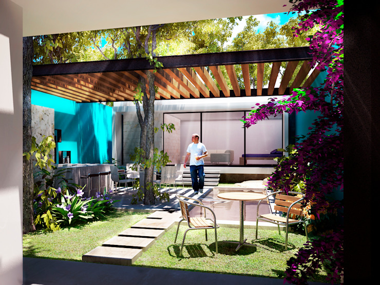 Terraza/Bar/Piscina/Asoleadero Balcones y terrazas modernos de Esquiliano Arqs Moderno