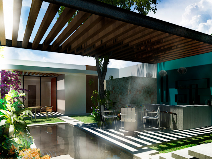 Terraza Bar Balcones y terrazas modernos de Esquiliano Arqs Moderno