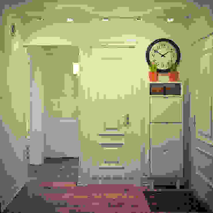Квартира в доме серии I-464 Коридор, прихожая и лестница в скандинавском стиле от Tatyana Pichugina Design Скандинавский