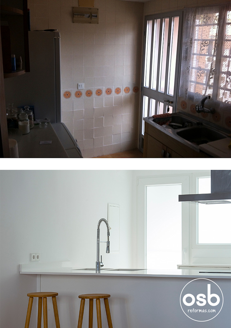 cocina antes y después de osb arquitectos Mediterráneo