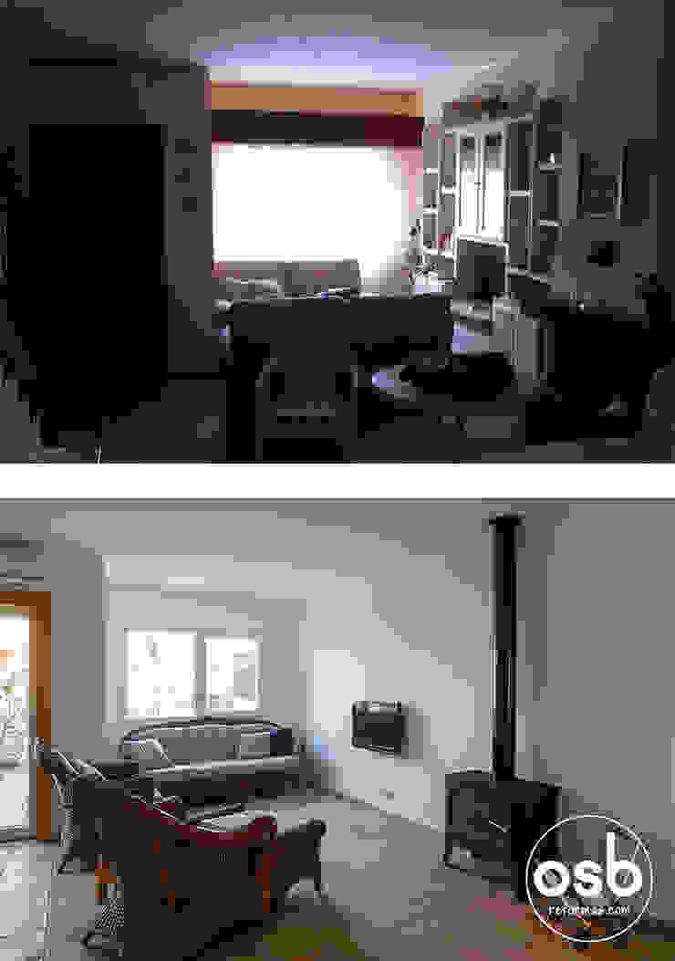 salón antes y después de osb arquitectos Mediterráneo