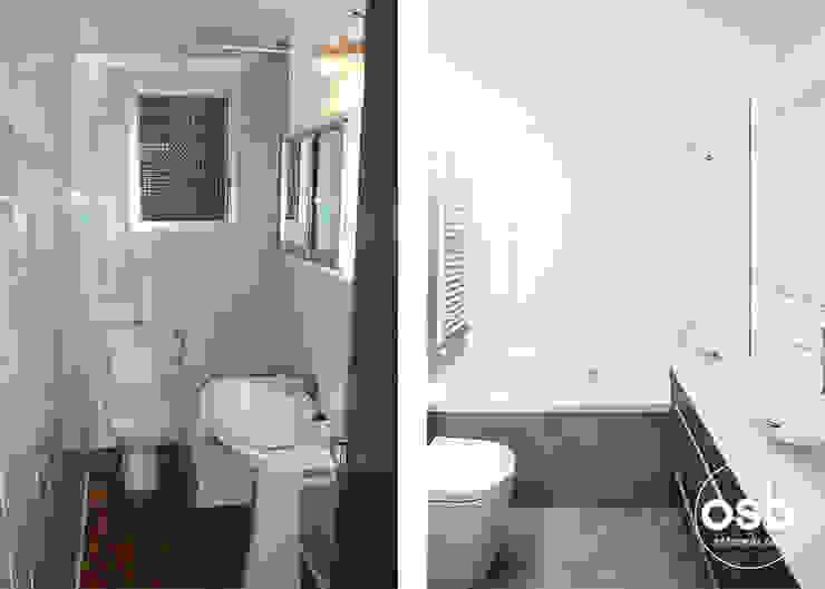 baño antes y después de osb arquitectos Moderno