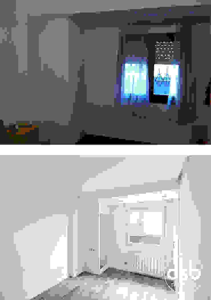 dormitorio antes y después de osb arquitectos Moderno