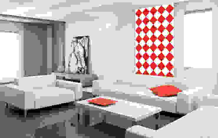 Tapeta w romby biało-czerwona Skandynawskie ściany i podłogi od Dekoori Skandynawski