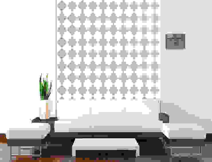 Tapeta w romby biało-szara Skandynawskie ściany i podłogi od Dekoori Skandynawski