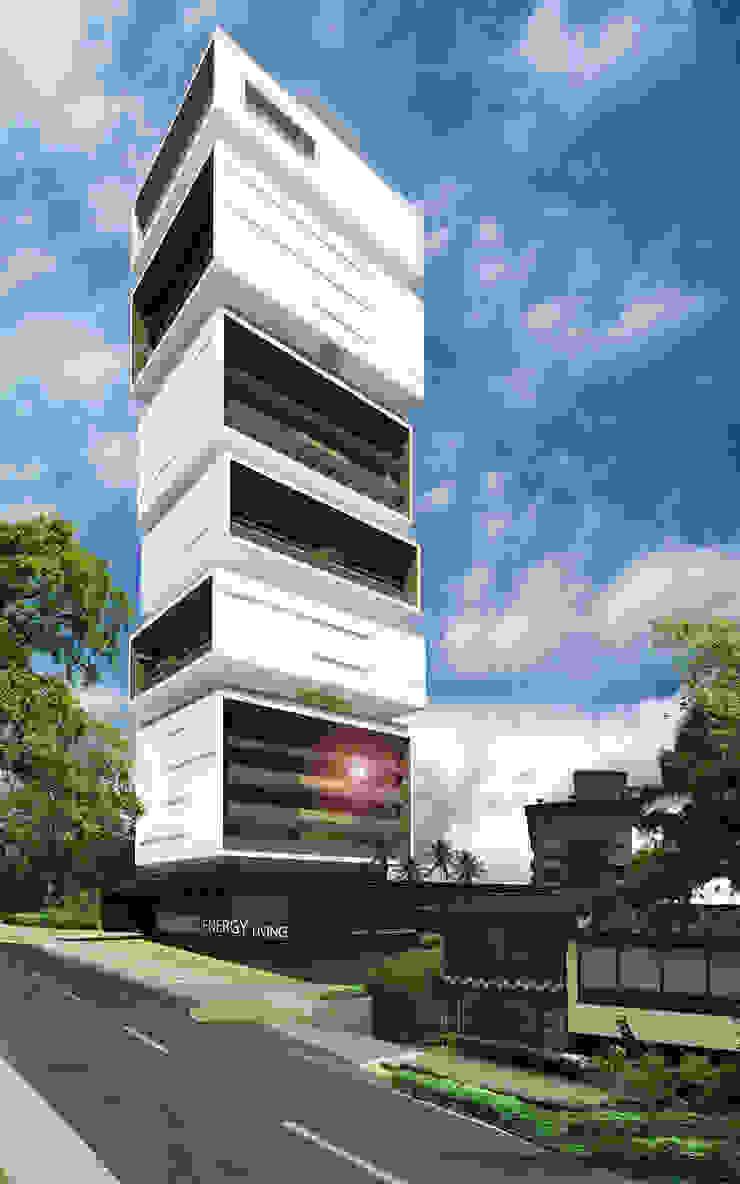 Fachada desde la Transversal Inferior de M Group Arquitectura Minimalista