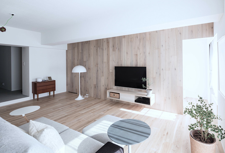 Scandinavian style living room by 一色玲児 建築設計事務所 / ISSHIKI REIJI ARCHITECTS Scandinavian