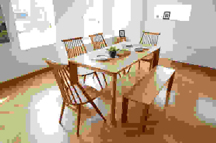 고운(W) 원목 와이드 4인 식탁세트(의자/벤치): 레트로하우스의 스칸디나비아 사람 ,북유럽 솔리드 우드 멀티 컬러