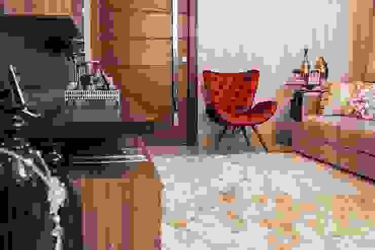 Projeto de arquitetura de interiores residencial. Salas de estar modernas por Elaine de Bona Arquitetura e Interiores Moderno