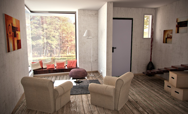 Proyecto Duplex - City Bell Salones minimalistas de Renders SLB Minimalista